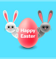 cartoon easter rabbits behind egg isolated vector image vector image