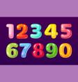 cartoon numbers cute comic bubble alphabet vector image