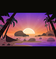 cartoon sunset tropical beach vector image