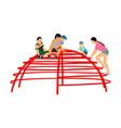 children playing at playground climber toy in park vector image vector image