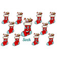christmas gift sock emotions emoticons set vector image vector image