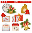 Christmas Icons Set 1 vector image vector image