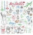 Christmas season doodle iconsanimalsLinear vector image vector image