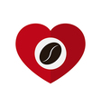 Coffee bean in love heart vector image vector image