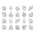 crystal simple black line icons set vector image