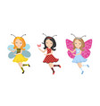 cute little girl ladybug bee butterfly icon set vector image