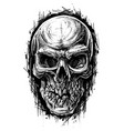 detailed graphic human skull trash polka line art vector image vector image