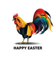 easter rainbow rooster vector image