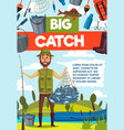 fisherman with big fish catch and rod banner vector image vector image