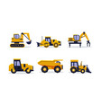flat set of heavy machinery for building vector image vector image