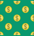 golden coins with dollar signs seamless pattern vector image vector image