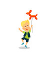 happy little boy with balloon in the shape of a vector image vector image
