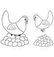 hen and eggs line art vector image