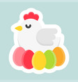 hen with egg icon easter and spring flat sticker vector image vector image