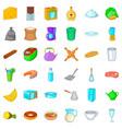 kitchen utensil icons set cartoon style vector image vector image