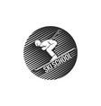 logo ski school skier descending from the vector image vector image