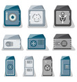 metallic safe box with closed door set vector image vector image