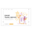 online mobile application for travelers landing vector image vector image