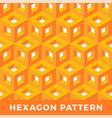 orange cube isometric seamless pattern hexagon vector image