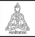 ornament beautiful man in a yoga pose lotus vector image