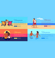 photos of happy couples on vacation at seaside vector image