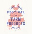 poster for farm fest cow pig rooster stand on vector image vector image