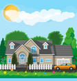 private suburban house with fence vector image