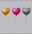 realistic heart balloon on transparent background vector image vector image