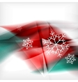 Red Christmas blurred waves and snowflakes vector image vector image