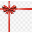 red silk gift bow with ribbon isolated vector image