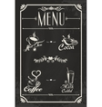 Restaurant drink menu design with chalkboard vector image vector image
