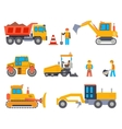 Road under construction flat icons set vector image