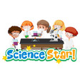science star logo with kid and experimental vector image vector image