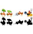 set farmer chicken vector image vector image