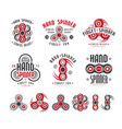Set hand spinner logo emblems and icons