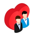 Two male and red heart isometric 3d icon vector image vector image