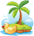 A yellow toy duck in an island vector image