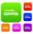 ambulance car set collection vector image vector image