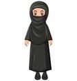 arab muslim girl in black color traditional vector image