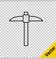 black line pickaxe icon isolated on transparent vector image vector image