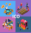 blockchain ico isometric concept vector image vector image