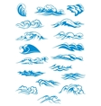 Blue breaking ocean waves vector image vector image