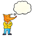 cartoon fox in shirt with thought bubble vector image vector image