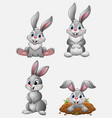 cartoon funny rabbits collection set vector image