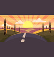 cartoon landscape with road higway and sunset vector image