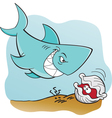 Cartoon Shark and Clam Underwater vector image vector image