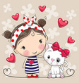 cartoon white kitten and a girl in a striped dress vector image