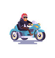 cheerful bearded man on blue motorcycle color card vector image vector image