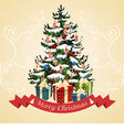 Christmas tree with balls candy gifts vector image vector image