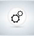 circle bubble button with two gears icon vector image